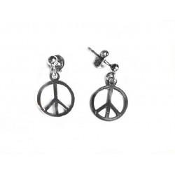 Pendientes de plata rodiada con símbolo de la paz - 13906-W-A
