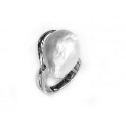 Anillo de plata rodiada con perla - 14013-R