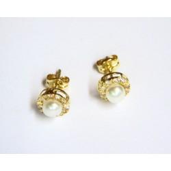 Pendientes de oro de 18 kl con circonitas y perla cultivada - 1020556
