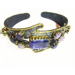 Pulsera de plata y oro con crisopas azules de Line Argent - 830192