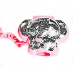 Portachupete elefante en color rosa con chapa en plaqué de plata - 4146R