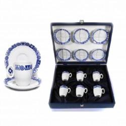 Estuche con juego de café de seis servicios con decorado celta - 016700464