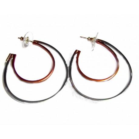 Pendientes de doble aro de plata bicolor con cierre de presión - 521290000886