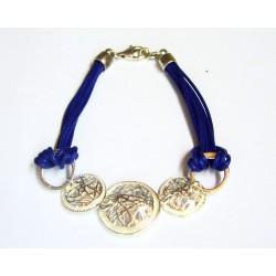 Pulsera de cuero azul con motivo de plata  - 0361251350