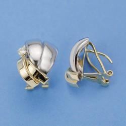 Pendientes de oro bicolor de 9 kl con circonita y cierre de omega - 9K18148
