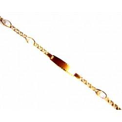 Pulsera de oro de 9kl con chapa para gravar y una malla húngara alternada con perlas cultivadas - 9K261407/2.35