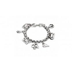 Pulsera Lakilov de Uno de 50 con cadena gruesa plateada y colgantes de diferentes símbolos, love, paz, gametos - PUL1290MTL0000M