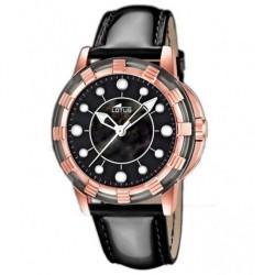 Reloj Lotus analógico con correa de piel negra - 15860/2