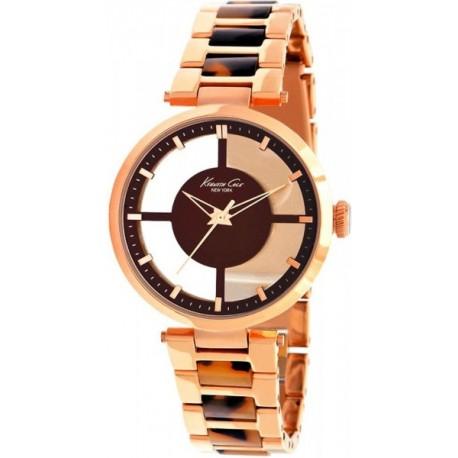 Reloj Kennet Cole Spring Summer analógico con armis de acero color cobrizo combinado con carey - IKC4766