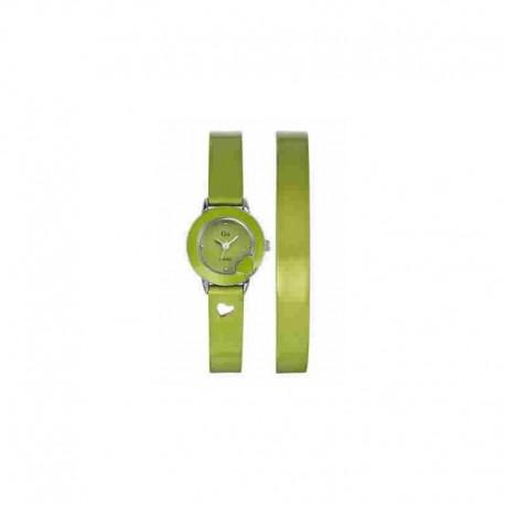 Reloj Go analógico con correa de piel doble color verde charol - 697553