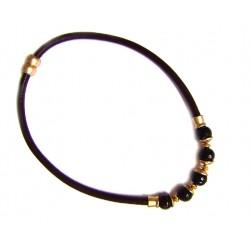 Collar de cuero y metal dorado con piedras negras - 14544-C