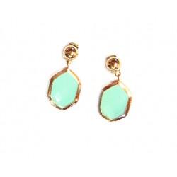 Pendientes de bronce para señora con piedra verde agua - 14776-A