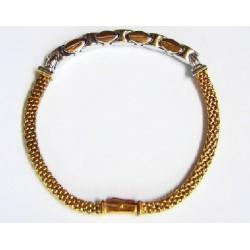 Pulsera de oro amarillo con pieza central de oro blanco y malla cuadrada - 1011319/14.1