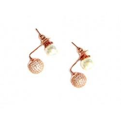 Pendientes dobles de plata y perla con pavonado de circonitas acabado bronce - A-14463-R