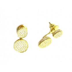 Pendientes dobles de plata dorada con circonitas - 14464-G-A