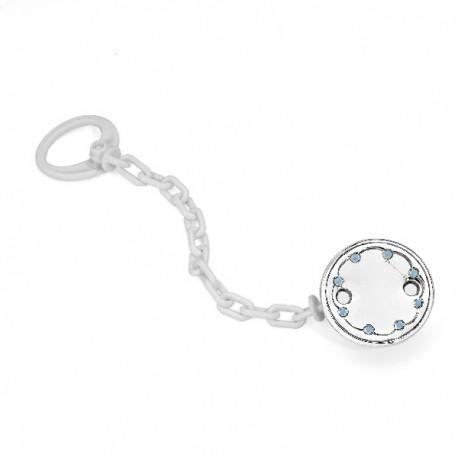 Pinza chupete de plaqué de plata con esmalte azul - 07500276
