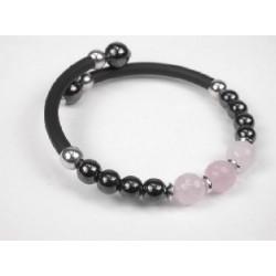 Pulsera de caucho negro con hematite y cuarzo rosa de Vitality - 43150