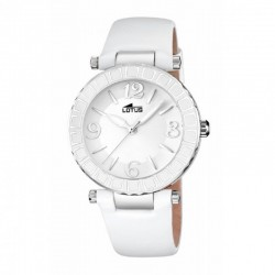 Reloj Lotus analógico con correa de piel blanca - 15839/1