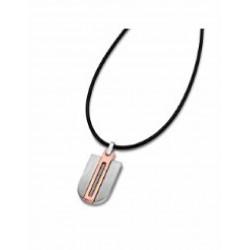 Colgante de acero en bicolor de lotus style con cordon de cuero negro - LS1635/1/2