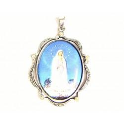 Medalla ovalada de plata con marcasitas y esmalte al fuego con imagen religiosa, Virgen de Fátima  - 50912