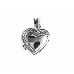 Colgante  de plata, dije o guardapelo con forma de corazón liso para gravar - 6X/469
