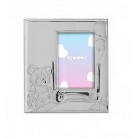 Marco infantil para niña en plaqué de plata con trasera de madera en color rosa - 4ML-DH0017R-GA