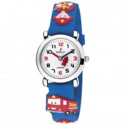 Reloj infantil de pulsera color azul con divertidos muñecos - 8-5572-0-1