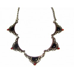 Collar de plata con azabache y coral acabado plata vieja - GA/137