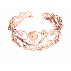Pulsera plata color cobrizo con filigrana - T125611