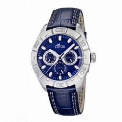 Reloj multifunción para caballero de lotus con esfera azul y correa de piel - 15815/2