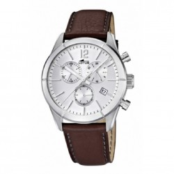 Reloj cronómetro para caballero de lotus con correa de piel en color marrón - 15850/1