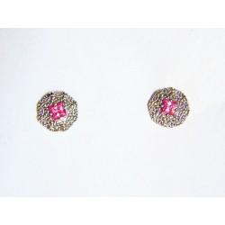 Pendientes plata Miña Xoia con piedra rosa