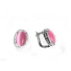 Pendientes de plata con  pavonado de circonitas y piedra  central  en color rosa  con forma oval - 288-
