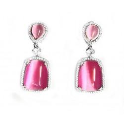 Pendientes largos  de plata con piedra rosa y circonitas - 265R
