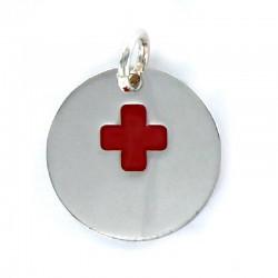 Colgante  disco de18 mm cruz alerta médica