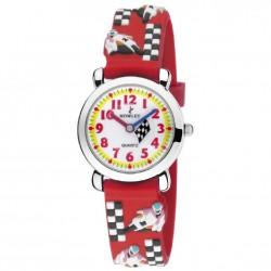 Reloj infantil de pulsera color rojo con divertidos muñecos - 8-5572-0-5