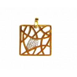 Colgante de oro bicolor de 18 kl con circonitas - 37002