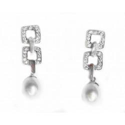 Pendientes de oro blanco de 18 kl con circonitas y perlas cultivadas - 203697