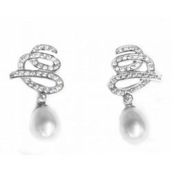 Pendientes de oro blanco de 18 kl con perlas cultivadas y circonitas - 203848