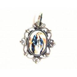 Medalla ovalada de plata y esmalte al fuego con imagen de la Virgen Milagrosa. - 50905
