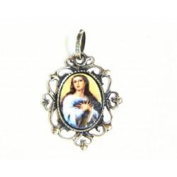 Medalla ovalada  de plata y esmalte al fuego con imagen de la Virgen Milagrosa. - 50905I