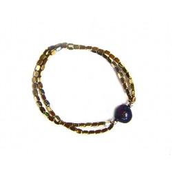 Pulsera elástica de hematites dorados y perla negra - 2-738D