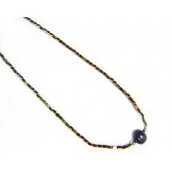 Collar de plata con hematites en color dorado y perla negra - 7-329D
