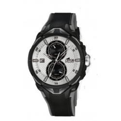 Reloj cronómetro para caballero de Lotus con esfera blanca y correa de caucho - 18107/1