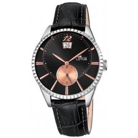 Reloj Lotus con caja de acero y correa de piel en color negro - 18322/6