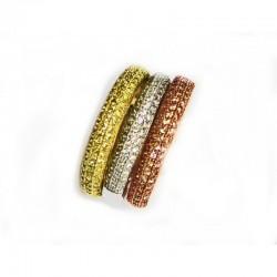 Sortija de plata compuesta por tres anillos con  distintos acabados, rodio, dorado y bronce - Nº6