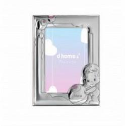 Marco infantil para niña en plaqué de plata con trasera de madera rosa - 4ML-DH0015R-BE