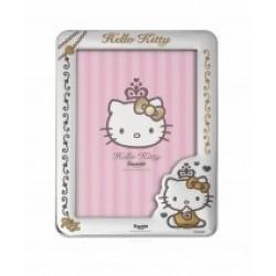 Marco infantil  de plaque de plata  hello kitty con trasera de madera blanca - 4-1002.2
