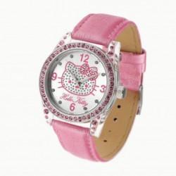 Reloj analógico para niña de Hello Kitty con correa de piel rosa - R-4401001