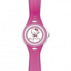 Reloj analógico para niña de Hello Kitty con correa de caucho color fucsia - R-4411001